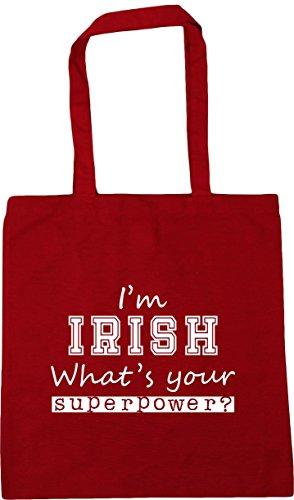 Shopping Superpower Bag I'm 42cm Irish Beach x38cm Gym Classic Tote 10 What's Red Your litres HippoWarehouse RIYqTqw
