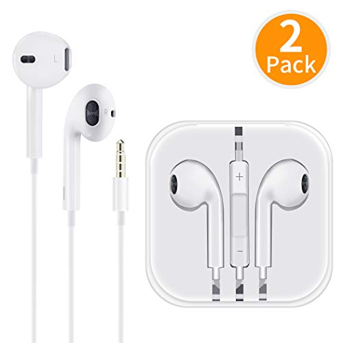 (2 Pack) Aux Headphones/Earphones/Earbuds 3.5mm Wired Headphones Noise Isolating Earphones with Built-in Microphone & Volume Control Compatible with iPhone 6 SE 5S 4 iPod iPad Samsung/Android MP3