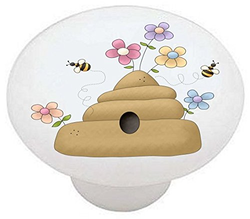 Bee Switchplate (BEE HIVE - Bumble Bears Country Bear Bee - DECORATIVE Glossy CERAMIC Drawer PULL Dresser KNOB)