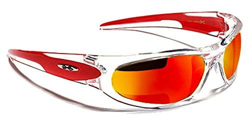 X-Loop Lunettes de Soleil - Sport - Cyclisme - Ski - Tennis - Moto - Plage / Mod. 012P Rouge Diesel Iridium