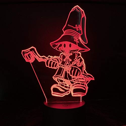 GuGuDass Toy 7 Color Changing - Lampara Anime Final Fantasy XIV Black MAGE Night Light 3D Lamp Decor Decoration Home Kids Gift (No Remote)