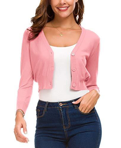 EXCHIC Women's Fashion Short Cardigan Button Down Knitted Coat V-Neck Shrug Trendy Bolero (XL, Pink)