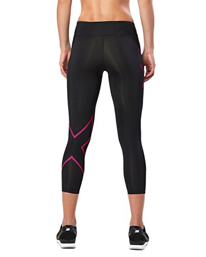 2XU Women's Mid-Rise 7/8 Compression Tights, Black/Cerise Pink, X-Small by 2XU (Image #2)