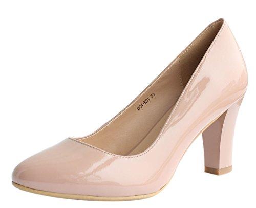 JARO VEGA Womens Soft Goatskin Genuine Leather Pumps Slender Block Heel Closed Almond Toe Dress Shoes Nude