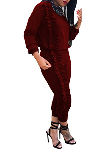 Sweatsuit Shirt Pants - Mojessy Women's Ruffled Outfits Long Sleeve Shirt + Pencil Pants Set Sweatsuits Tracksuits Clubwear Medium Wine Red