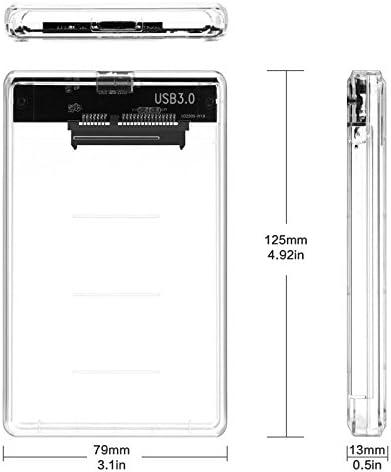 elegantstunning 2.5 Inch Transparent Type-C to Sata 3.0 HDD Case 2TB Hard Drive SSD Box USB 3.1