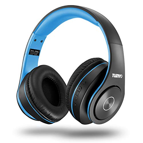 Bluetooth Headphones Wireless,Tuinyo Over Ear Stereo Wireless Headset 35H Playtime with deep bass, Soft Memory-Protein Earmuffs, Built-in Mic Wired Mode PC/Cell Phones/TV-Black/Blue