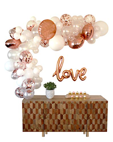 Party Swag Balloon Arch & Garland Kit | 80 Rose Gold, Confetti, White & Clear Balloons | Love Balloon | Hand Pump | Glue Dots | 16' Tape | Bridal, Baby Shower, Birthday, Wedding Party Decorations]()