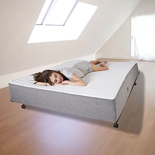 Indipartex Queen Bed Frame With Wheels Low Profile Adjustable Metal ...