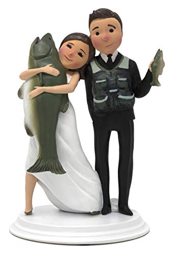 Dihtan Unique and Funny Fishing Wedding Cake Toppers Bride and Groom (Light Skin Dark Hair)