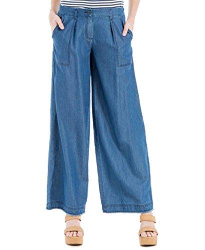 Max Studio London Womens Odette Blue Tencel Blend Wide Leg Jeans, Blue, 2 Regular
