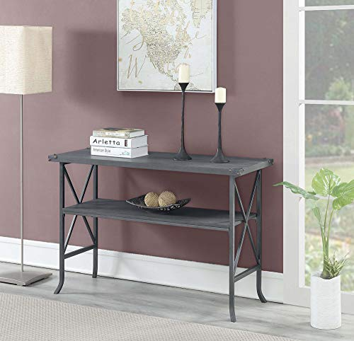 Convenience Concepts 111899CGY Brookline Console Table, Charcoal Slate Gray Frame