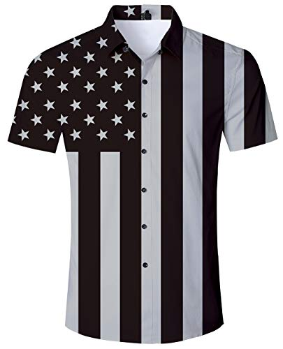 Best Friend Usa Flag - Mens Button Down Shirt American Flag Short Sleeve 2019 Stars and Striped Dress Shirts Summer Holiday Vacation Tops Boys USA Clothing Slim Fit Large