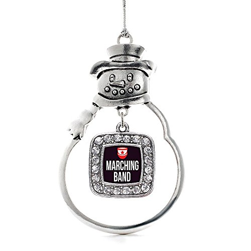 Ornament Band - Inspired Silver Marching Band Classic Snowman Holiday Christmas Tree Ornament With Crystal Rhinestones