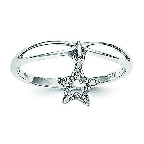Sterling Silver Rhodium Plated Diamond Star Dangle Ring - Size - Star Diamond Rhodium