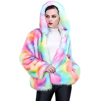 JTENGYAO Women Faux Fur Coat Rainbow Color Winter Thick