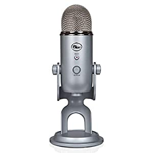Blue Yeti USB Recording & Streaming on PC and Mac, 3 Condenser Capsules, 4 Pickup Patterns, Headphone Output and Volume, Mic Gain Control, Adjustable Stand, Plug & Play-Silver