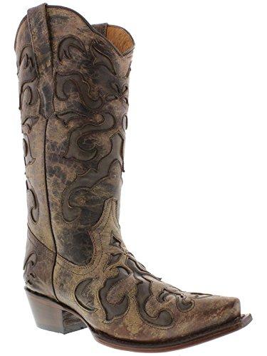 Cowboy Professionista Donna Marrone 770 Sovrapposizione Stivali Da Cowboy In Pelle Occidentale Snip Toe Brown