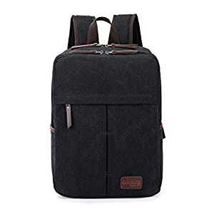 Eshow Canvas School Backpack Slim Laptop Backpack Business Back Pack Bookbag Daypack For Women and Men Fit up To 14 Inch Laptop, Black