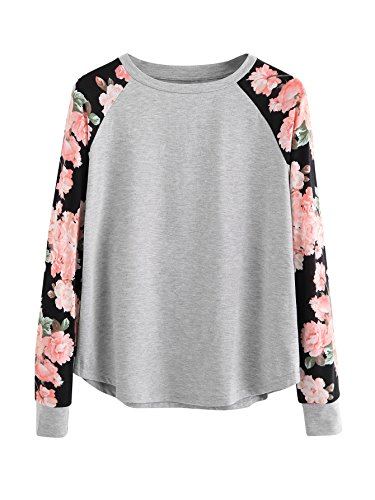 ROMWE Women's Long Sleeve Top Casual Floral Print T-Shirt Tee Grey S