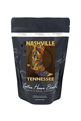 Nashville, Tennesseee - Boot (8oz Whole Bean Small Batch Artisan Coffee - Bold & Strong Medium Dark Roast w/ ()