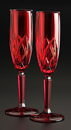 Christmas Tablescape Decor - Brookside Red Crystal Champagne Flutes Set of 4 by Marquis By Waterford