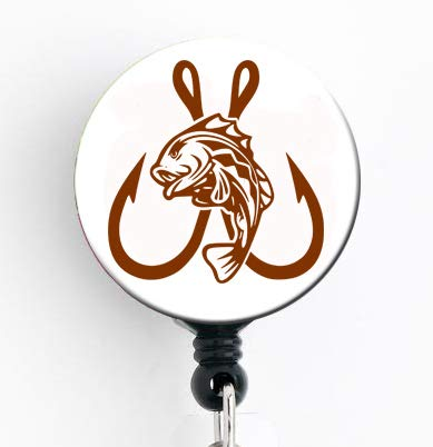 Double Fish Hook - Retractable Badge Reel with Swivel Clip and Extra-Long 34 inch Cord - Badge - Badge Reel Double