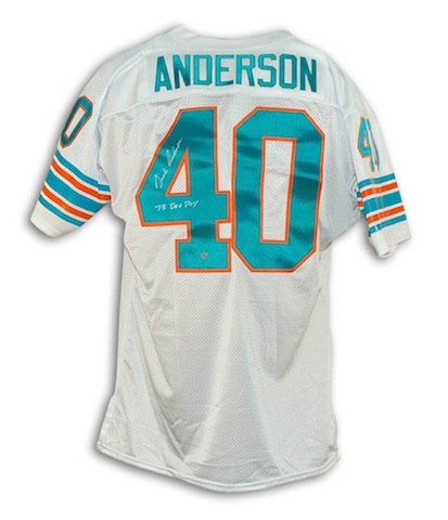 - Autographed Dick Anderson Miami Dolphins White Throwback Jersey Inscribed
