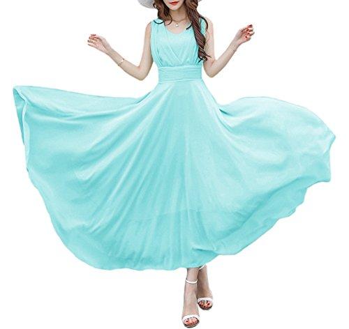 Afibi Sleeveless Long Chiffon Crystal Maxi Vintage Evening Party Dress (Large, Mint Green)
