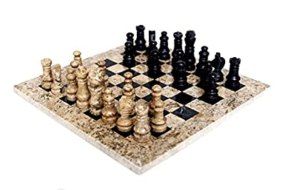 RADICALn Handmade Fossil Coral and Black Marble Full Chess Game Original Marble Chess Set