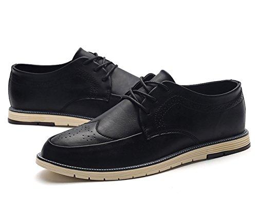 Black Oxford Men's Wingtip Leather Casual Brogues Insun w7BqFSUxw