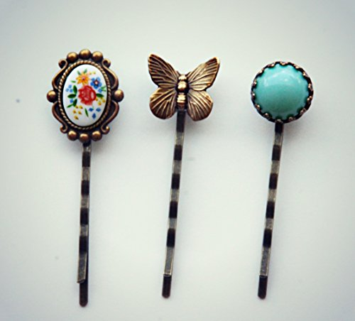 (butterfly flowers and turquoise bobby pin set)