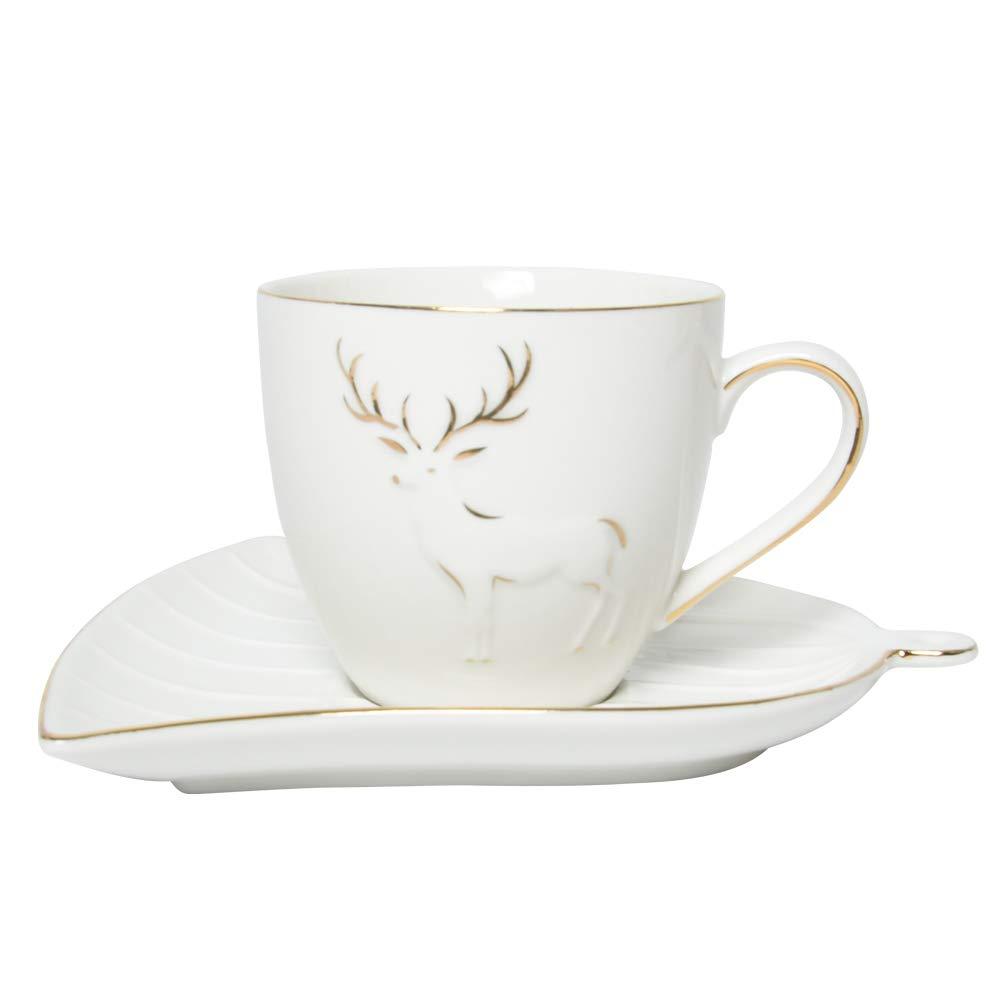 AEKEA Holidays Joy 6.8oz porcelain cup set with saucers,for coffee/&tea reindeer design,2 colors,set of 2