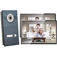 2 Draht Video Türsprechanlage Gegensprechanlage Fischaugenkamera mit 7 '' Monitor, Frontblende RAL 7016 Anthrazit (2x Monitor spiegel)