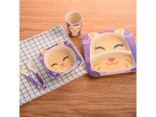 Zehaer Baby Placemat Bamboo Fiber Cat Dish Children Plate Fork Spoon Cup Set for Kids(Green and Brown) Toddler Children (Bamboo Place Fork)