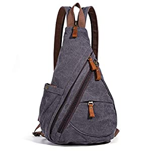 Canvas Sling Bag - Small Crossbody Backpack Shoulder Casual Daypack Chest Bags Rucksack for Men Women Outdoor Cycling Hiking Travel (6881-D.Grey) 18