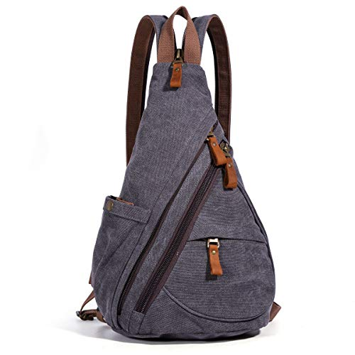 Canvas Sling Bag - Small Crossbody Backpack Shoulder Casual Daypack Chest Bags Rucksack for Men Women Outdoor Cycling Hiking Travel (6881-D.Grey) (Stylish Sling Backpacks)
