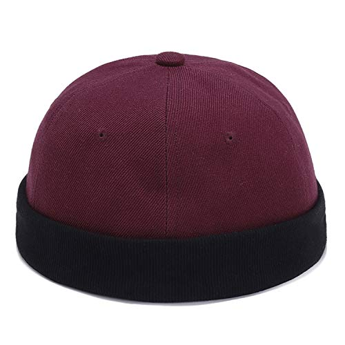 Brimless Skull Caps Women Men Chinese Style Vintage Vogue Crimping Brimless Hats Beanie Hat New,Red