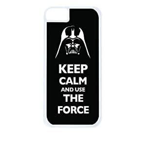 Keep Calm and Use The Force-Hard White Plastic Snap - On Case with Soft Black Rubber Lining-Apple Iphone 5 - 5s - Great Quality!