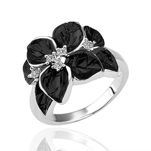 Star Jewelry Black Enamel White Gold Plated Flower Simulation Crystal Women Ring Size 8 ()