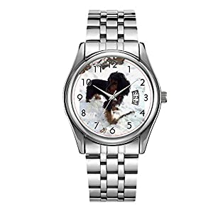 Men Watch Fashion Male Date Calendar Clock Sports Watchband Waterproof Full Stainless Steel Man Quartz Wrist Watche Black tri English Cocker Spaniel in Snow.png Watches 1