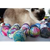 Cat and dog interactive toy. Wool ball. Handmade. Natural sheep wool. Soft and light. Also have more other uses. 10 pieces