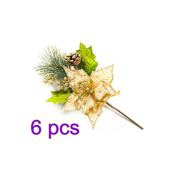 Firlar Christmas Artificial Flowers, 6pcs Pinecone Pine Needles Sequins Flowers DIY Home Christmas Flower Arrangements Wreaths Wedding Tabletop Floral Decor
