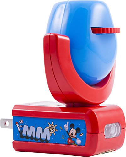 Projectables 11739 Six Image Mickey Mouse Clubhouse LED Plug-In Night Light, Blue and Red, Light Sensing, Auto On/Off, Projects Disney Characters Mickey and Goofy Image on Ceiling, Wall, or (Mickey Light)