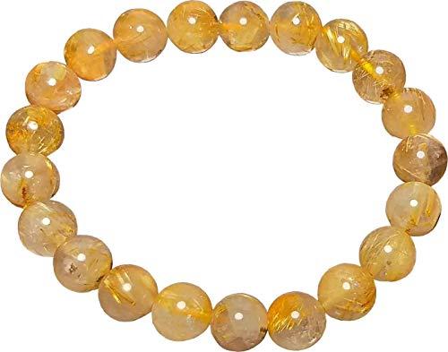 Aldomin Natural Energized Golden Rutilated Quartz Gemstone Healing Crystal Bracelet (Bead Size 8 MM) -