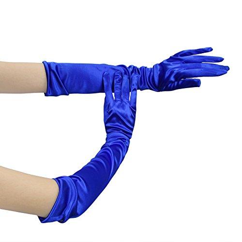 UPC 603275610075, APAS Womens Stretchy Solid Satin Bridal Party Fancy Wedding Prom Finger Gloves Gem Blue