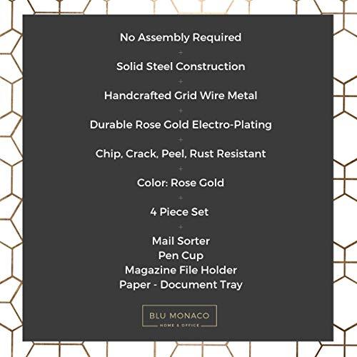 Blu Monaco Office Supplies Rose Gold Desk Accessories for Women - 4 Piece Wire Rose Gold Desk Organizer Set – Letter Sorter, Paper Tray, Pen Cup, Magazine File - Stationery Décor by Blu Monaco (Image #5)