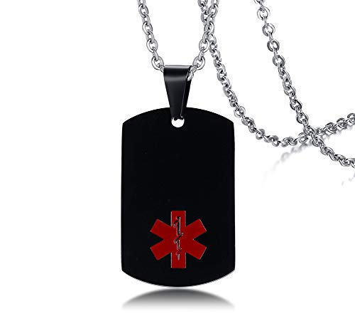 Custom Engrave Medic Information Black Ion Plated Dogtag Medical Alert ID Pendant Necklace with Chain