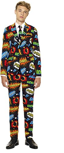 Teen Boys 'Badaboom' Party Suit and Tie by OppoSuits, Size (5t Spiderman Costume)
