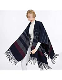 Scarf Thick Wool Summer air Conditioning Room Shawl Office Cloak Jacket Female Cloak Scarf Winter Dual-use Thick (Color: Black) Believe in yourself (Color : Blue ash)